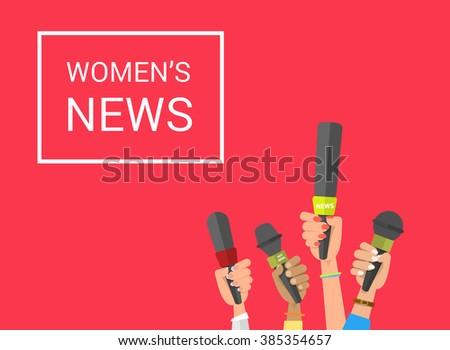 Journalism concept . Set of hands holding microphones. Press hands flat hand. Microphone. Hands holding microphones. Journalist. Womens news. Set of microphones Isolated. Hand with microphone. - stock vector