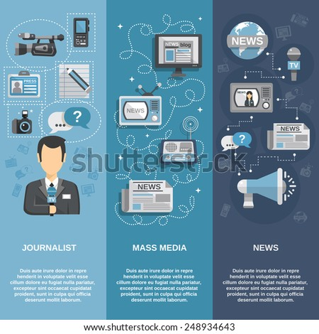 Journalist flat banner set vertical with mass media and news elements isolated vector illustration - stock vector