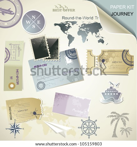 Journey -  paper objects for your travel - stock vector