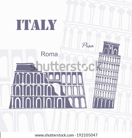Journey to  Italy - stock vector