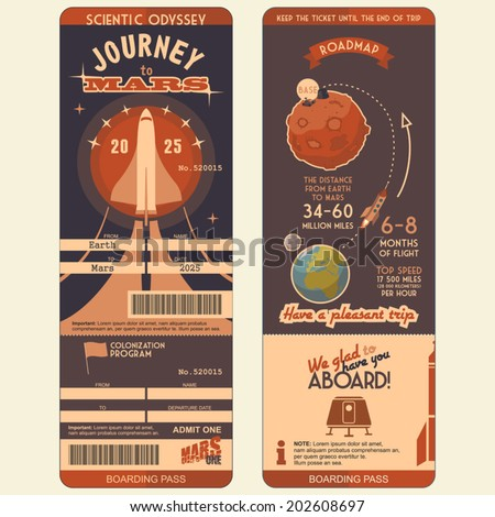 Journey to Mars boarding pass for the first settlers on the Red Planet. Flat graphic design template, face and back side - stock vector