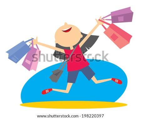 Joy of Shopping - stock vector