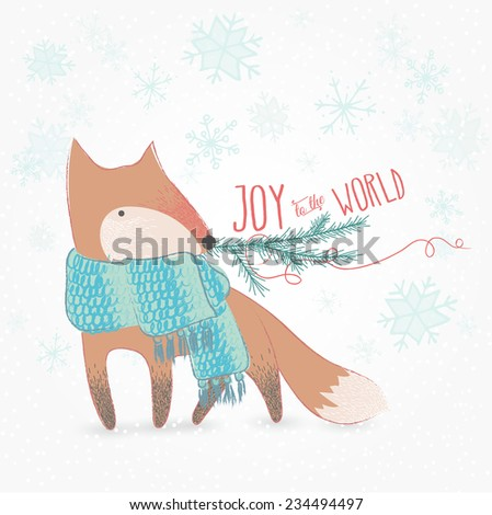 Joy To The World Doodle Christmas Card With Cute Fox - stock vector