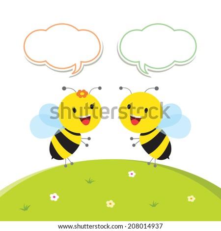 Joyful bees. Communication. - stock vector