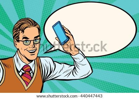 Joyful businessman with smartphone close-up pop art retro vector - stock vector