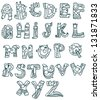 Joyful Cartoon font - from A to Z, monster hand drawn letter, funny vector Alphabet for Design - stock vector