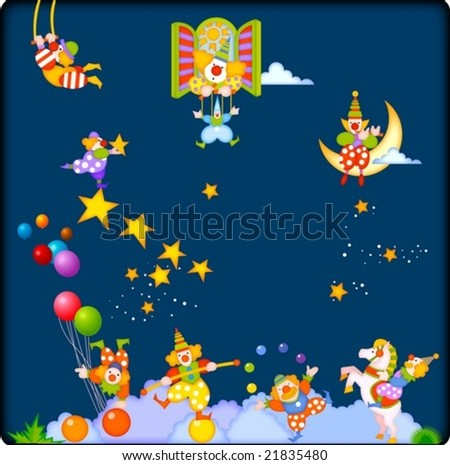 Joyful Circus and Cute Pierrot - enjoy happy and funny clowns with marionette puppet show at the fantastic circus festival isolated on beautiful blue night background : vector illustration - stock vector