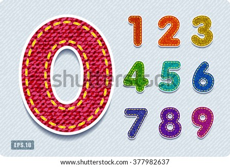 Joyful 3d colorful denim numbers. Set. eps10.  Zero 0 One 1 Two 2 Three 3 Four 4 Five 5 Six 6 Seven 7 eight 8 nine 9. vector. - stock vector