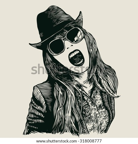 Joyful girl screaming in hat and sunglasses .engraving style. vector illustration. - stock vector