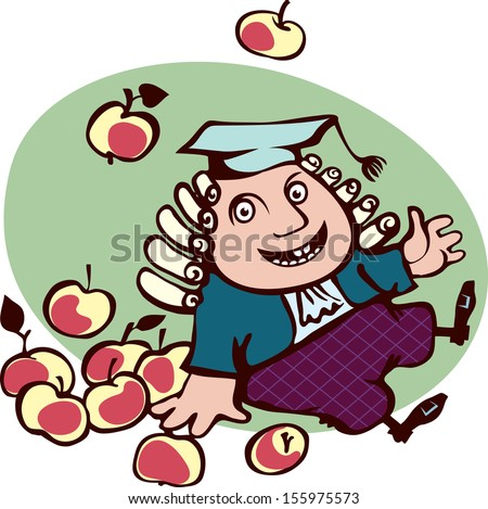Joyful Isaac Newton sitting surrounded by apples. The fall of the fruit on the learned man. - stock vector
