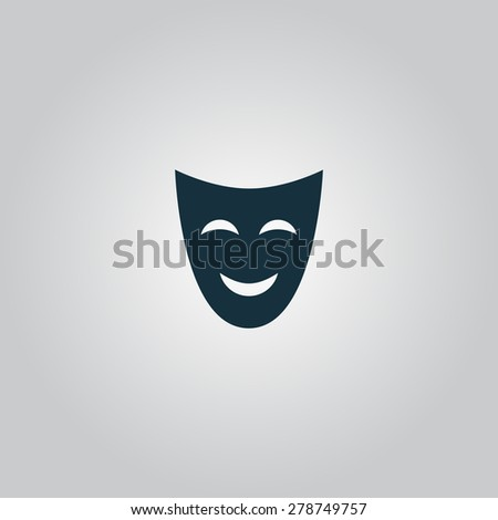 Joyful mask. Flat web icon or sign isolated on gray background. Collection modern trend concept design style vector illustration symbol - stock vector