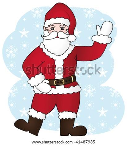 Joyful santa claus cartoon. Vector  illustration II. - stock vector