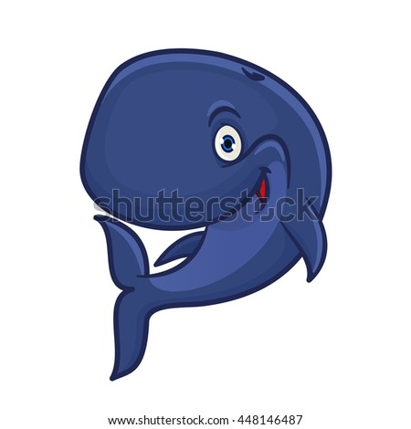 Joyful smiling blue sperm whale cartoon character for sea adventure hero or underwater wildlife mascot design with funny cachalot preparing for deep dive - stock vector