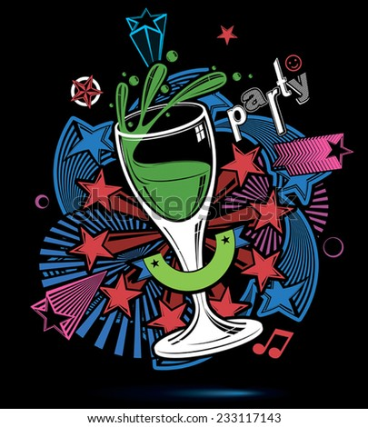 Joyful splash backdrop with musical notes, glass goblet with wine and decorative stars. Graphic festive splash poster with design elements easy to use separately. - stock vector