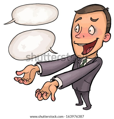 joyous office manager holds out his hands forward. vector drawing of a series of comic characters. - stock vector