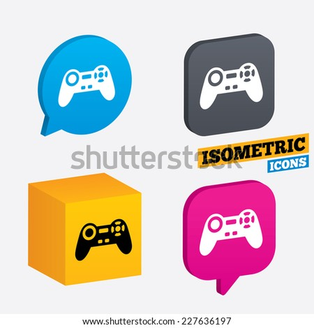 Joystick sign icon. Video game symbol. Isometric speech bubbles and cube. Rotated icons with edges. Vector - stock vector
