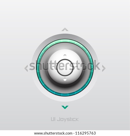 Joystick UI button design with light - stock vector