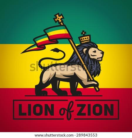 Judah lion with a rastafari flag. King of Zion logo illustration. Reggae music vector design - stock vector
