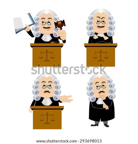 Judge characters in different poses - stock vector