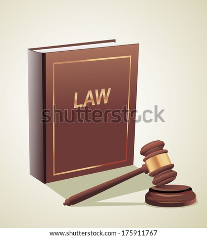 Judge gavel and law book. - stock vector