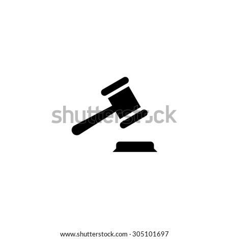Judge gavel. Black simple vector icon - stock vector