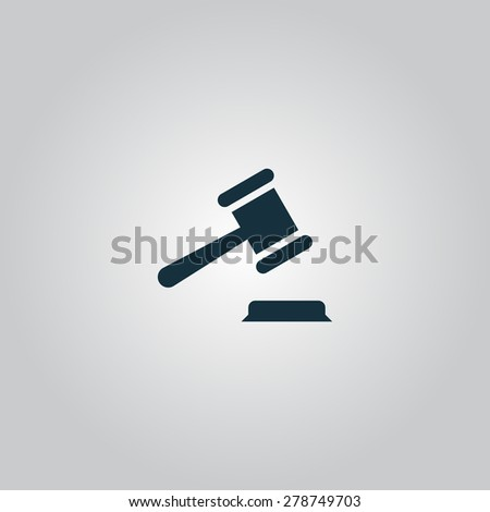 Judge gavel. Flat web icon or sign isolated on gray background. Collection modern trend concept design style vector illustration symbol - stock vector
