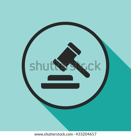 judge gavel icon. auction hammer sign - stock vector