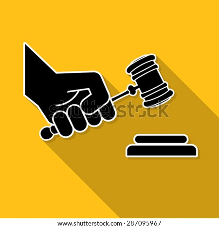judge gavel in hand symbol, vector - stock vector
