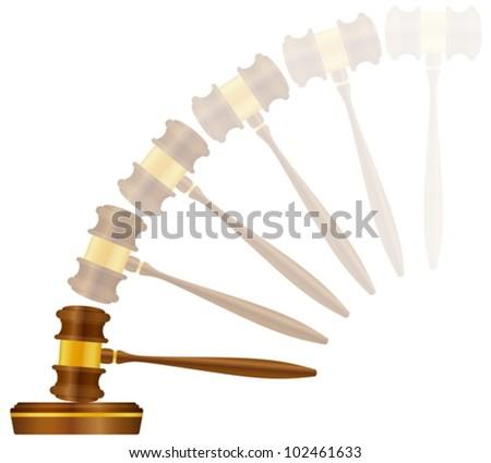 Judge gavel on a white background. Vector illustration. - stock vector