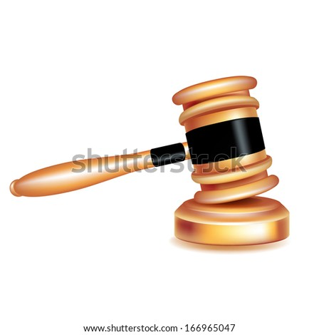 judge gavel on wooden surface isolated on white - stock vector