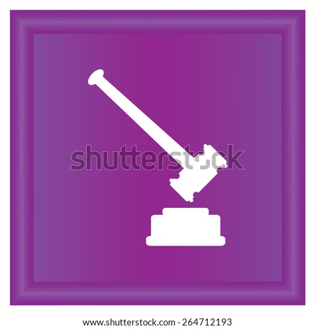 judge hammer  icon, vector illustration. Flat design style - stock vector