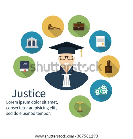 Judge icon. Icons symbol of law and justice. Concept law. Trial. Law vector icons, flat design style. Lawyer, judgement, judge gavel, attorney, jurisprudence, scales, balance, book laws, judge. - stock vector