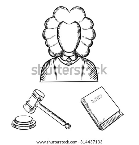 Judge in traditional mantle and wig, gavel and law book icons in outline sketch style - stock vector