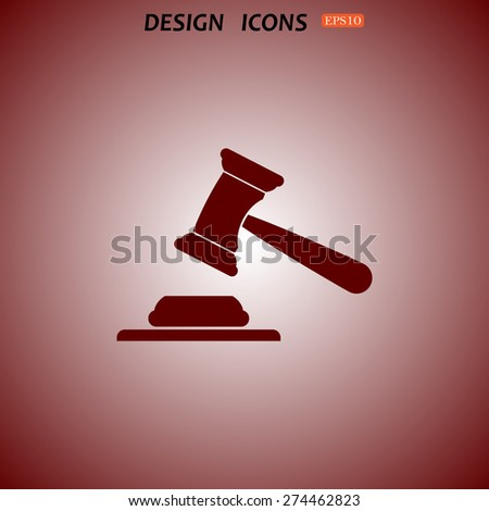 judge or auction hammer. icon. vector design - stock vector