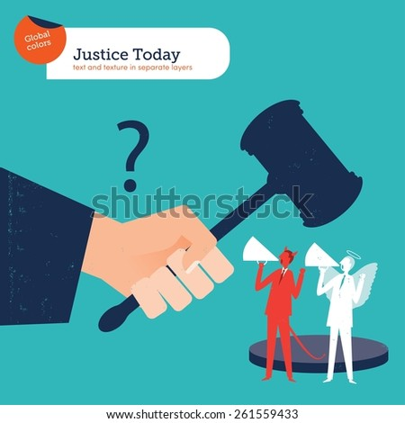 Judge with hammer of justice angel and demon. Vector illustration Eps10 file. Global colors. Text and Texture in separate layers. - stock vector