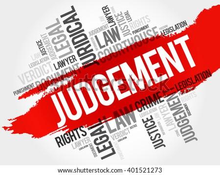 Judgement word cloud concept - stock vector