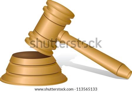 Judges gavel isolated on white, vector illustration - stock vector