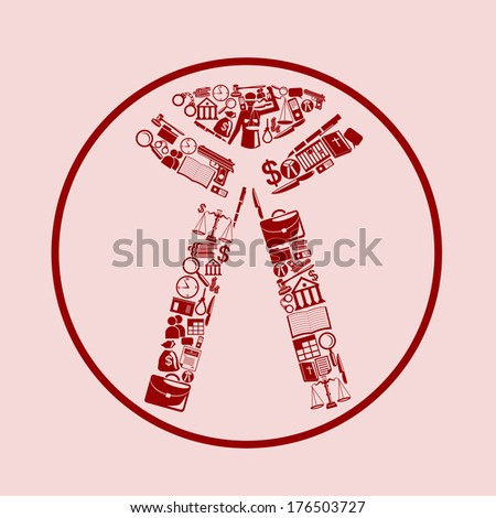 judicial and law icon forming the shape of lawyer collar - stock vector