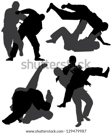 Judo Silhouette on white background - stock vector