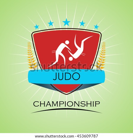 Judo - Winner Golden Laurel Seal  - Layered EPS 10 Vector - stock vector