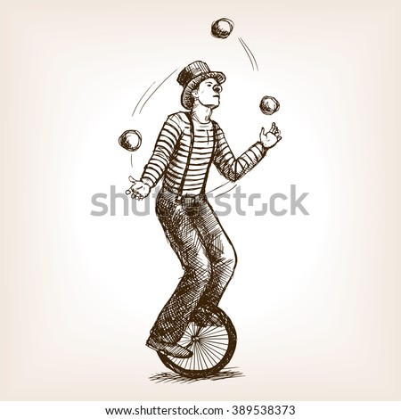 Juggler man on retro vintage old unicycle sketch style vector illustration. Old hand drawn engraving imitation. Juggler circus on a unicycle - stock vector