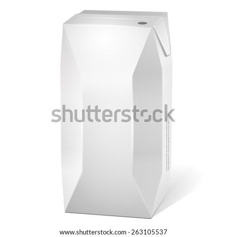 Juice Milk Carton Packages Blank White. Products On White Background Isolated. Ready For Your Design. Product Packing. Vector EPS10  - stock vector