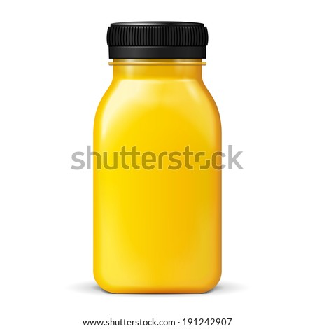 Juice Or Jam Glass Yellow Orange Bottle Jar On White Background Isolated. Ready For Your Design. Product Packing. Vector EPS10 - stock vector