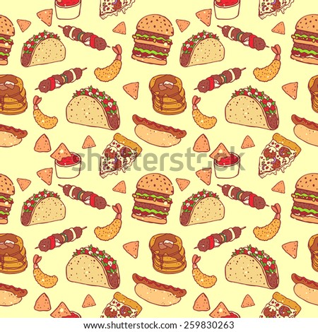Juicy and bright seamless pattern with food: hamburger, pizza, hot dogs, nachos, tacos, barbecue, pancakes and shrimp tempura. Decorate your menu, website design or postcard! - stock vector