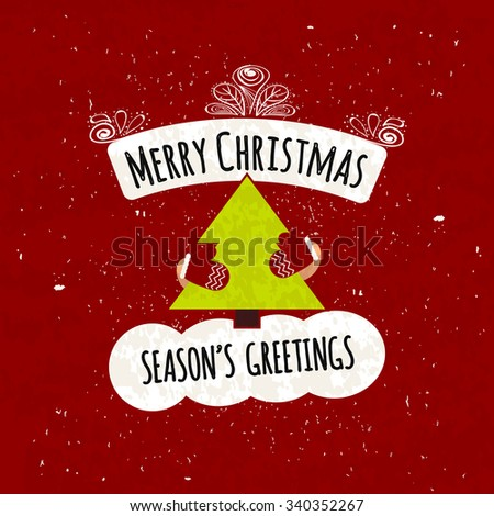 Juicy colorful typographic poster with shapes for text and decorative handmade items. Season greetings. Warming motivational Christmas flyer. Vector illustration - stock vector