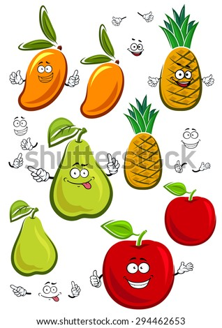 Juicy fresh apple, mango, pineapple and pear fruits cartoon characters with sappy green leaves, isolated on white, for agriculture or healthy food design - stock vector