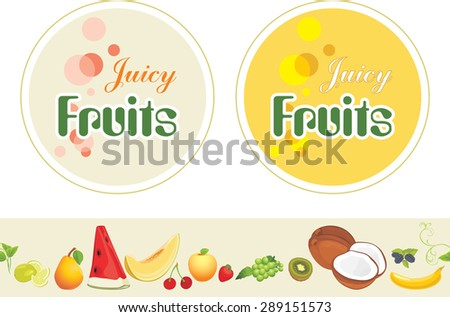 Juicy fruits. Labels and border for design. Vector - stock vector