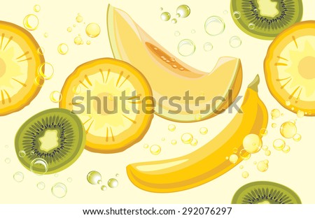 Juicy fruits. Seamless background for design. Vector - stock vector