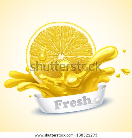 Juicy lemon - stock vector
