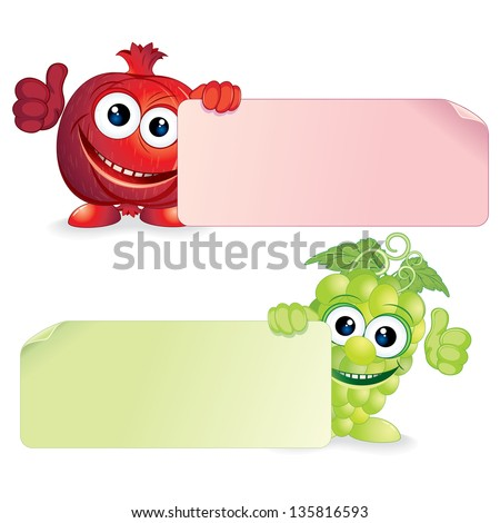 Juicy Pomegranate and Fresh Grapes. Funny Fruits with Blank Sign. Vector Cartoon Illustration - stock vector